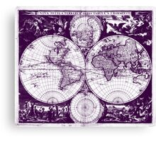 Vintage Map of The World (1685) Purple & White  Canvas Print