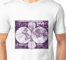 Vintage Map of The World (1685) Purple & White  Unisex T-Shirt