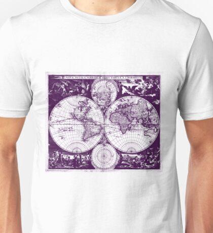 Vintage Map of The World (1685) Purple & White  Unisex T-Shirt