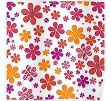 multicolored flowers on white background Poster