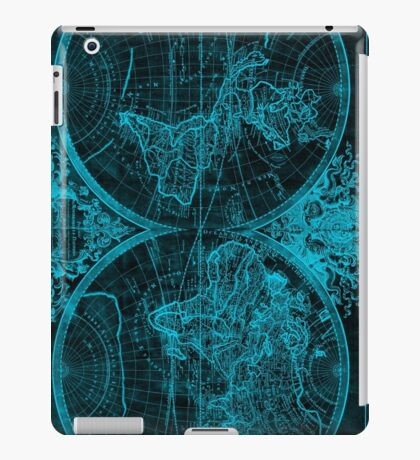 World Map (1691) Black & Blue iPad Case/Skin