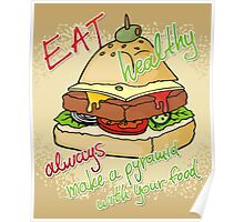 Healthy eating burger pyramid Poster