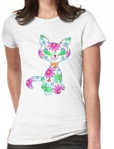 Ornate kitten illustration Womens Fitted T-Shirt