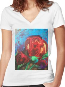 The Tulips Came Early Women's Fitted V-Neck T-Shirt
