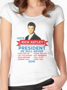 Rick Astley for Prez! Women's Fitted Scoop T-Shirt