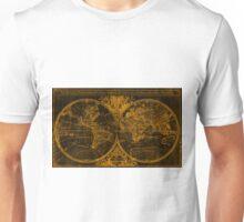 World Map (1691) Black & Orange Unisex T-Shirt
