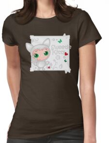 Cute funny kitten vector illustration Womens Fitted T-Shirt