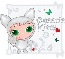 Cute funny kitten vector illustration Photographic Print