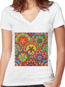 Funky Retro Pattern Mandalas Women's Fitted V-Neck T-Shirt
