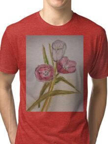 Tulips ...water coloued pencil drawing Tri-blend T-Shirt