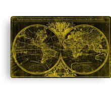 World Map (1691) Black & Yellow Canvas Print