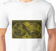 World Map (1691) Black & Yellow Unisex T-Shirt