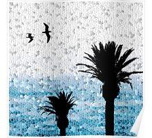 Design 25 Seagull Bird Palm Trees Mosaic Poster