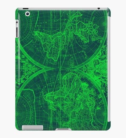 World Map (1691) Blue & Green iPad Case/Skin