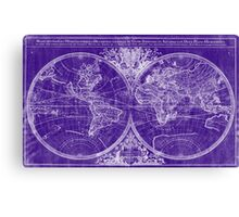 World Map (1691) Purple & White Canvas Print