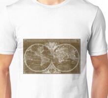 World Map (1691) Brown & White Unisex T-Shirt