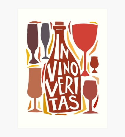 In vino veritas ( in wine is the truth) motto. Hand drawn unique lettering illustration design. Art Print