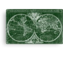 World Map (1691) Green & White Canvas Print