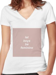 Let Boys Be Feminine Women's Fitted V-Neck T-Shirt