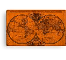 World Map (1691) Orange & Black Canvas Print