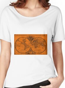 World Map (1691) Orange & Black Women's Relaxed Fit T-Shirt