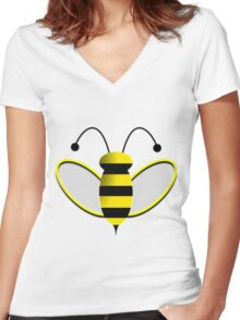 Animated Bumble Bee Women's Fitted V-Neck T-Shirt