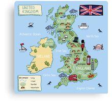 Cartoon map United Kingdom Canvas Print