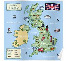 Cartoon map United Kingdom Poster