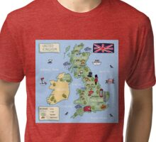 Cartoon map United Kingdom Tri-blend T-Shirt