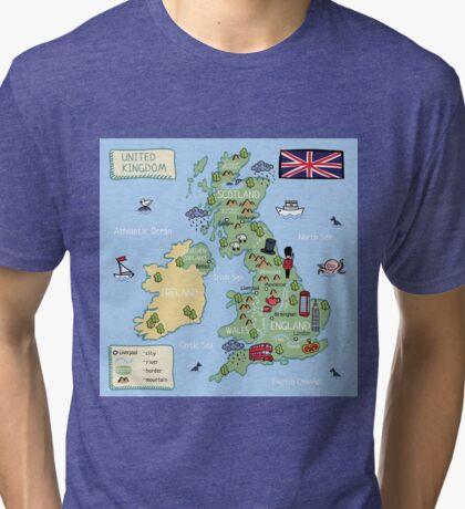 Cartoon map United Kingdom Tri-blend T-Shirt