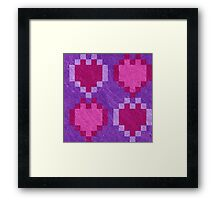 Pink Purple Pixel Hearts Framed Print