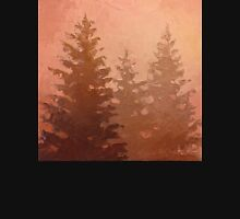 Cedar Trees Silhouette - Foggy Forest Painting Unisex T-Shirt
