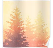 Cedar Trees Silhouette - Foggy Forest Painting Light Version Poster