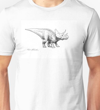 Cera the Triceratops - Dinosaur Ink Drawing Unisex T-Shirt