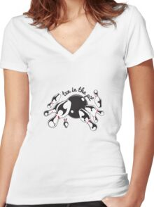 Bowling Ten in the Pit Strike Ball Women's Fitted V-Neck T-Shirt