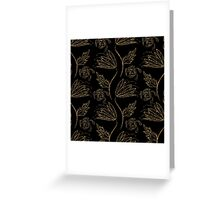Floral ornament gold seamless pattern, stylish texture. Gold trendy glitter print on black background Greeting Card