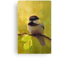 Cute Black Capped Chickadee on Spring Green Tree Branch Canvas Print