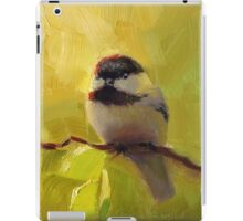 Cute Black Capped Chickadee on Spring Green Tree Branch iPad Case/Skin