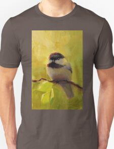 Cute Black Capped Chickadee on Spring Green Tree Branch Unisex T-Shirt