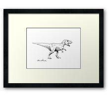 Chomper - Tyrannosaurus Rex Ink Drawing Illustration Framed Print