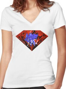 Blood Crystal Suicune Women's Fitted V-Neck T-Shirt