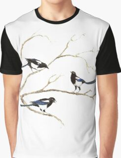 Watercolor Magpie Bird Family Graphic T-Shirt