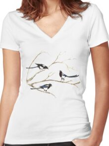 Watercolor Magpie Bird Family Women's Fitted V-Neck T-Shirt