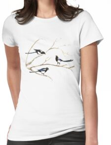 Watercolor Magpie Bird Family Womens Fitted T-Shirt