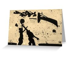 Spring Basketball Fun Silhouette Greeting Card