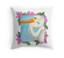 Great Heron and Bougainvillea Throw Pillow