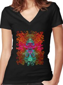 The Purfled Acid Pole Women's Fitted V-Neck T-Shirt
