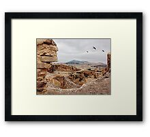 Three Birds Over Landfill in Morocco Framed Print
