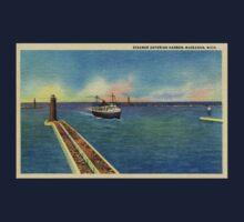 Vintage Steamer entering harbor Muskegon MI One Piece - Short Sleeve