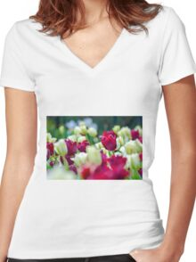 Tulips Red Women's Fitted V-Neck T-Shirt